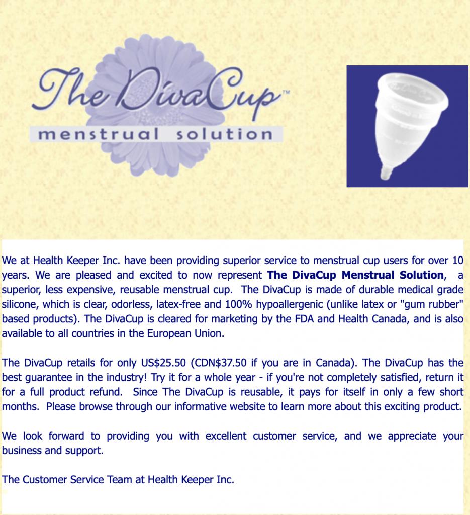 diva cup 2003 website