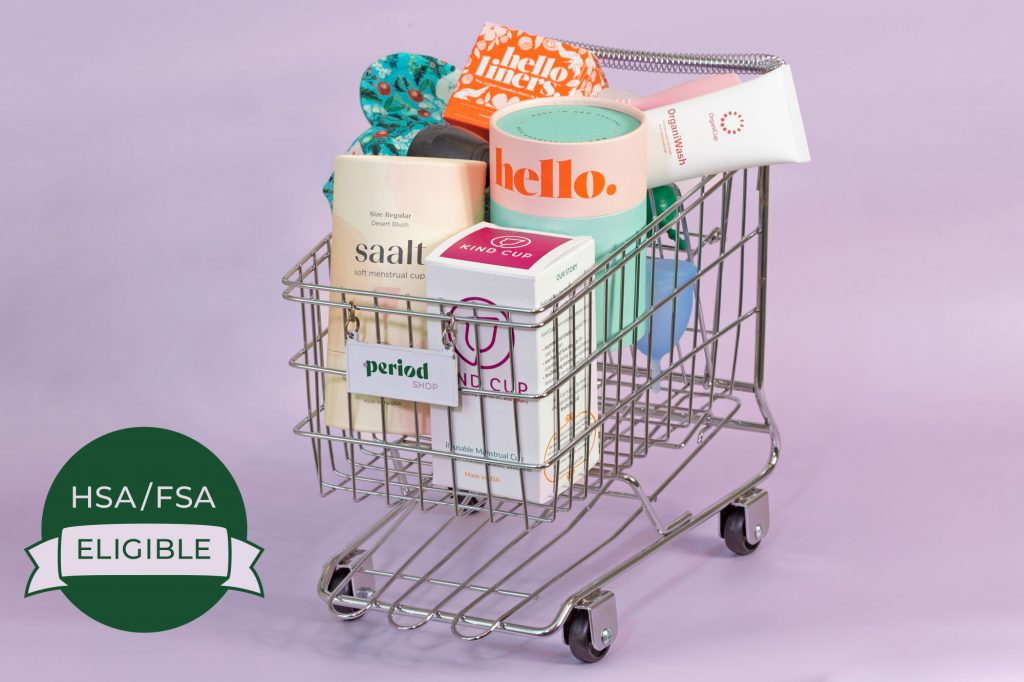 HSA/FSA badge on period products shopping cart with multiple brands of cups