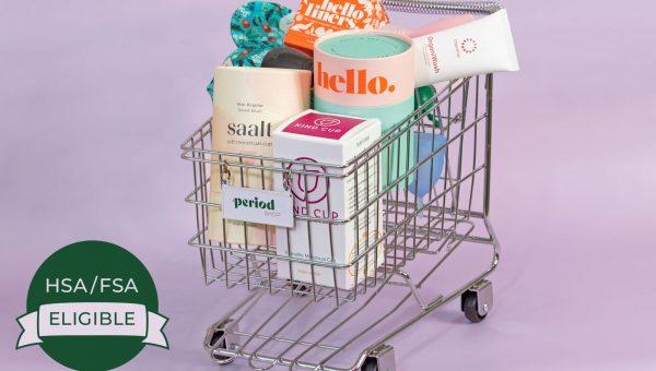 shopping cart full of mensrtual cups